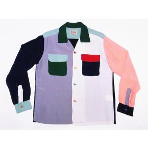 STYLE EYES[スタイルアイズ] 長袖ボウリングシャツ SE28070 サドルステッチ オープンシャツ SADDLE STITCH RAYON BOWLING SHIRT (クレイジー)|cream05