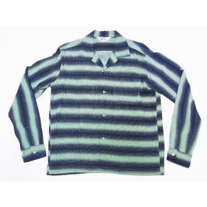 STAR OF HOLLYWOOD[スターオブハリウッド] オープンシャツ SH28121 長袖 GRADATION STRIPES オープンカラーシャツ (ミントグリーン)|cream05