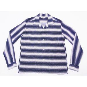 STAR OF HOLLYWOOD[スターオブハリウッド] オープンシャツ SH28121 長袖 GRADATION STRIPES オープンカラーシャツ (オフホワイト)|cream05