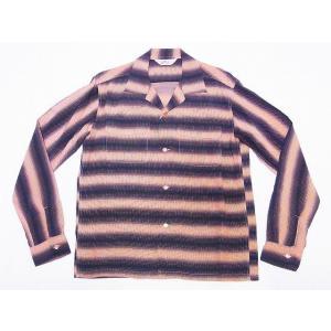 STAR OF HOLLYWOOD[スターオブハリウッド] オープンシャツ SH28121 長袖 GRADATION STRIPES オープンカラーシャツ (ピンク)|cream05