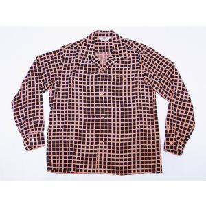 STAR OF HOLLYWOOD[スターオブハリウッド] オープンシャツ SH28125 長袖 SQUARE GRID オープンカラーシャツ (ブラック)|cream05