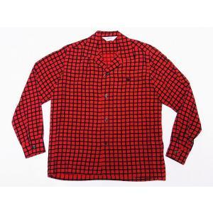 STAR OF HOLLYWOOD[スターオブハリウッド] オープンシャツ SH28125 長袖 SQUARE GRID オープンカラーシャツ (レッド)|cream05