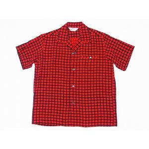 STAR OF HOLLYWOOD[スターオブハリウッド] オープンシャツ SQUARE GRID SH38126 半袖 オープンカラーシャツ (レッド) cream05