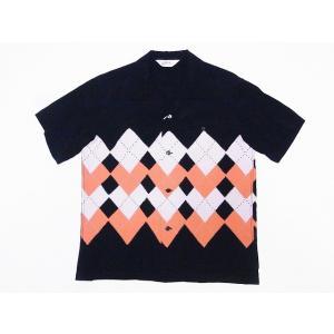STAR OF HOLLYWOOD[スターオブハリウッド] オープンシャツ ARGYLE SH38129 アーガイル 半袖 オープンカラーシャツ (ブラック) cream05