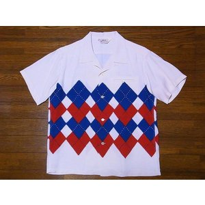 STAR OF HOLLYWOOD[スターオブハリウッド] オープンシャツ ARGYLE SH38129 アーガイル 半袖 オープンカラーシャツ (オフホワイト) cream05
