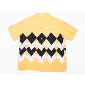STAR OF HOLLYWOOD[スターオブハリウッド] オープンシャツ ARGYLE SH38129 アーガイル 半袖 オープンカラーシャツ (イエロー) cream05