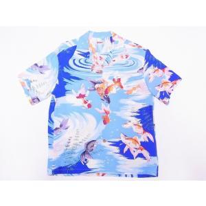 SUN SURF[サンサーフ] アロハシャツ SS38027 GOLD FISH 金魚 (ブルー)|cream05