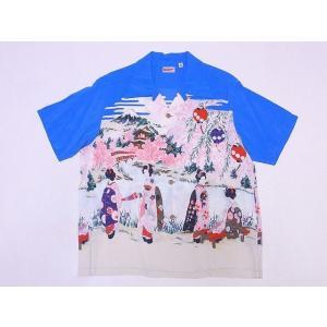 SUN SURF[サンサーフ] アロハシャツ SS38030 OLD JAPANESE SCENERY 舞妓 (ブルー)|cream05