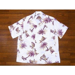 SUN SURF[サンサーフ] アロハシャツ SS38032 STUDDED WITH PALM TREE AND PINEAPPLE (オフホワイト)|cream05