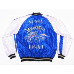 テーラー東洋[東洋エンタープライズ] スカジャン TT14074 PALM TREE×HAWAII MAP ヤシの木 ハワイ地図 (ブルー)|cream05