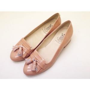 ボントレ BONTRE キルトタッセルパンプス #80101 (ピンクベージュ/エナメル)|creation-shoes
