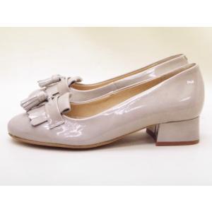 ボントレ BONTRE キルトタッセルパンプス #80101 (アイスグレー/エナメル)|creation-shoes