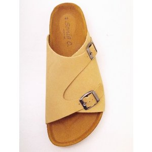SONIA C ソニア・シー フットベッドサンダル UD04 ベージュNUBUCK メンズサンダル|creation-shoes