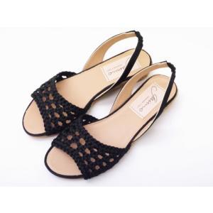 ガイモ gaimo サテンメッシュサンダル NAVIL ブラック BLACK レディース creation-shoes