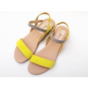 ガイモ gaimo サンダル NEPAL イエロー×グレー Ladies' バイカラーサンダル creation-shoes