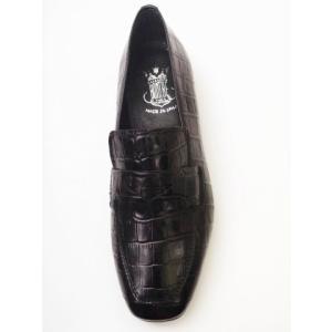 ボントレ BONTRE #92052 クロコ型押しBLACK レディース スクエアコインローファー|creation-shoes