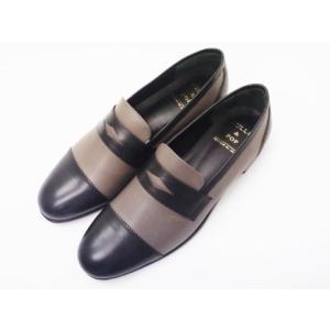 ビュール・エ・ポップ BULLE & POP ブラック×グレー 靴 レディース スリッポン creation-shoes