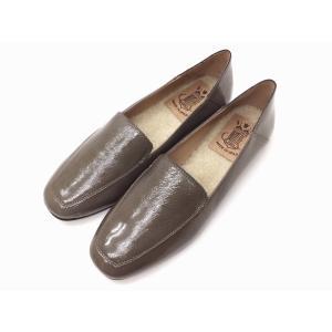 ボントレ BONTRE #90054 GRAYエナメル スクエアバブーシュ 靴 レディース|creation-shoes