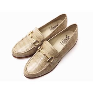 ボントレ BONTRE ローファー #05801 型押しクロコ(グレージュ) レディース ビットローファー|creation-shoes