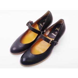 ショセ chausser 靴 レディース PC-570 ブラック BLACK すべり止め加工済み ワンストラップパンプス|creation-shoes