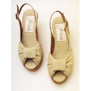 gaimo ガイモ ウエッジソール・サンダル (BEIGE コットン) creation-shoes