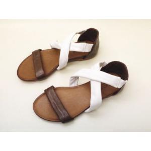 INUOVO イヌーヴォ レザーサンダル No.1017(DBR/WHITE) レディース creation-shoes