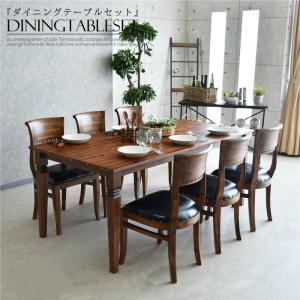 ダイニングテーブルセット 幅180 6人掛け アカシヤ無垢 アジアンテイスト|creation-style
