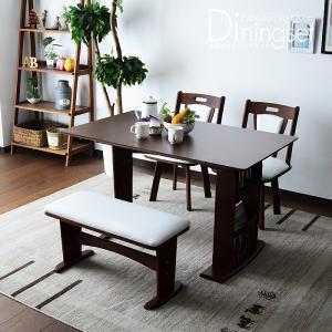 ダイニングテーブルセット 4点 4人用 ベンチ 北欧 カフェ 伸長式 回転