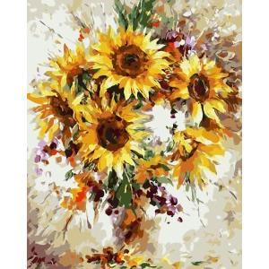 【油絵セット】 WS-AE102 抽象向日葵  DIY絵 キャンバス 大人の塗り絵(油絵) 壁デコ ...