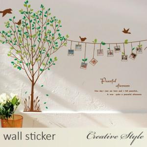 商 品 名:木と鳥とフォトフレーム ウォールステッカー ウォールシール 壁紙シール 商品番号:WS-...