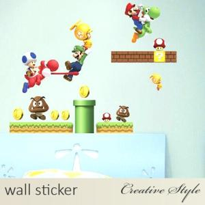 ウォールステッカー 子供部屋 マリオ 壁シール ウォールシール はがせる かわいい ディズニー インテリアシールの画像