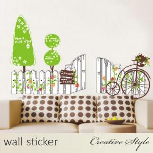 商 品 名:フェンスと自転車 ウォールステッカー ウォールシール 壁紙シール 商品番号:WS-AY8...