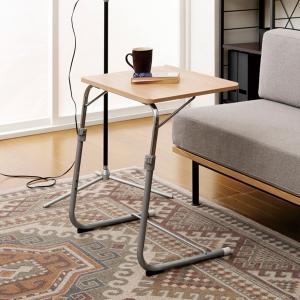 フォールディングテーブル 折りたたみテーブル サイドテーブル ナイトテーブル 机 ベッドサイド 折畳み 折り畳み 角度調整 高さ調整 多目的 パソコン FLS-1 NA の商品画像