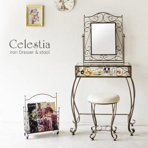ドレッサー スツールセット ラウンドスツール 椅子 いす 鏡台 化粧台 鏡 ミラー ラック 収納 ロートアイアン スチール お姫様 D-1251|creativelife