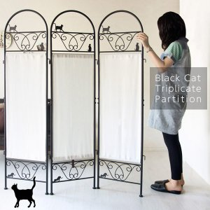 猫のパーテーション 高さ157cm 3連 黒猫 衝立 間仕切り スクリーン 目隠し 簡単組立 SK-2828|creativelife