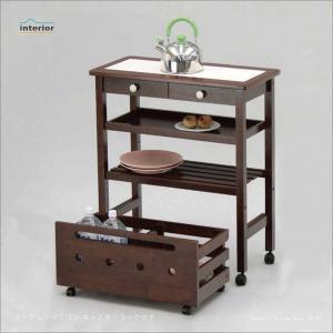 ストアレッジワゴン キッチンワゴン ワゴン ラック 棚 作業台 配膳台 収納 キャスター付き 天板タイル 85-427|creativelife