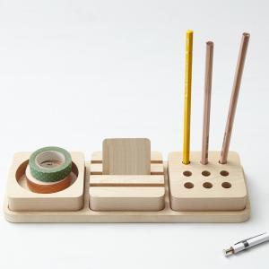 ペン立て おしゃれ 木製 デザイン ペンスタンド 3トレイ ペントレイ|creatorplaneta