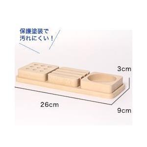 ペン立て おしゃれ 木製 デザイン ペンスタンド 3トレイ ペントレイ|creatorplaneta|02