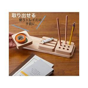ペン立て おしゃれ 木製 デザイン ペンスタンド 3トレイ ペントレイ|creatorplaneta|03