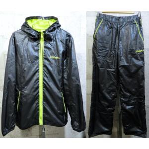 美品 adidas NEO 秋冬 ウインドブレーカー 上下セットアップ 上M下S メンズ 黒/黄緑 アディダス ブラック フード パーカー|creep-shopping