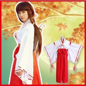 ハロウィンで大人気の巫女さんコスチューム7点セット トップス、袴、ベルト、白リボン、赤リボン、袖リボ...
