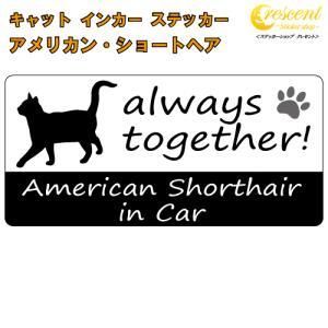 アメリカン・ショートヘア american shorthair in Car ステッカー プリントタイプ 【Cat in Car キャット インカー 猫 シール デカール】|crescent-ss