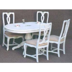 ダイニングセット5点 クラック塗装  輸入家具 食卓テーブルセット 4人用|crescent