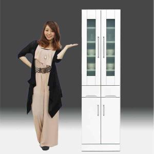 食器棚 白家具 鏡面 日本製 一本立ち完成品 キッチンボード 幅50cm 高さ180cm モイス付き 白 ホワイト 鏡面仕上げ GOK|crescent