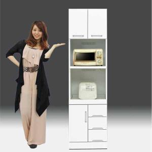 レンジ台 白家具 鏡面 食器棚 レンジボード 日本製 一本立ち完成品  幅50cm 高さ180cm  白 ホワイト 鏡面仕上げ GOK|crescent