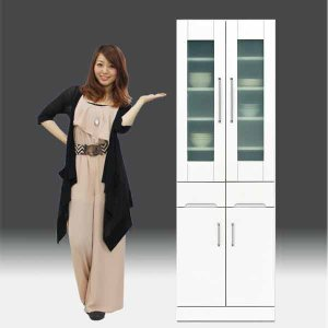 食器棚 白家具 鏡面 日本製 一本立ち完成品 キッチンボード 幅60cm 高さ180cm モイス付き 白 ホワイト 鏡面仕上げ GOK|crescent