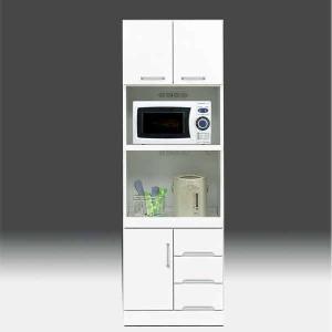 レンジ台 白家具 鏡面 食器棚 レンジボード 日本製 一本立ち完成品  幅60cm 高さ180cm  白 ホワイト 鏡面仕上げ GOK|crescent