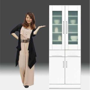 キッチンボード 完成品 食器棚 白家具 鏡面 日本製 一本立ち  幅70cm 高さ180cm モイス付き 白 ホワイト 鏡面仕上げ GOK|crescent