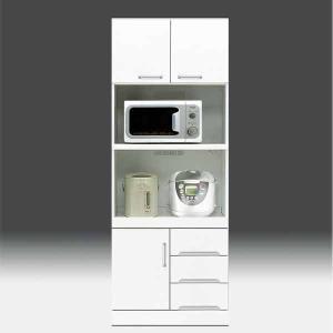 レンジ台 白家具 鏡面 食器棚 レンジボード 日本製 一本立ち完成品  幅70cm 高さ180cm  白 ホワイト 鏡面仕上げ GOK|crescent