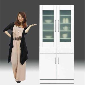 食器棚 白家具 鏡面 日本製 一本立ち完成品 キッチンボード 幅80cm 高さ180cm モイス付き 白 ホワイト 鏡面仕上げ GOK|crescent